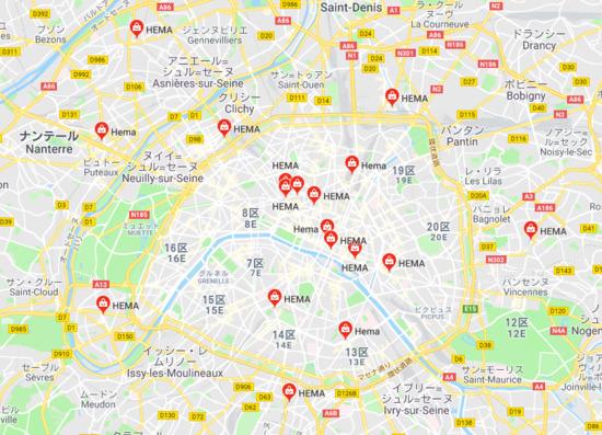 パリ市内・近郊のHEMA店舗地図