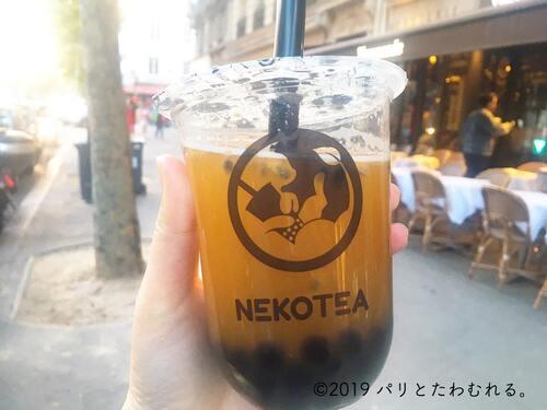 パリ6区タピオカ専門店NEKOTEAのタピオカティー