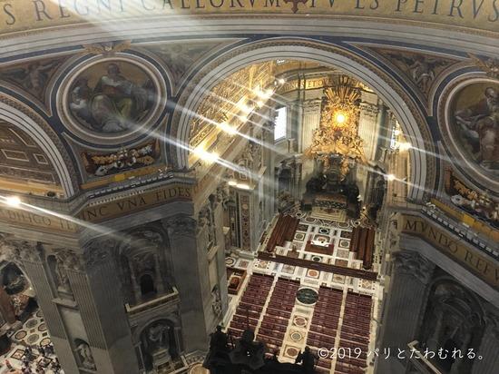 上からみたサン・ピエトロ大聖堂内